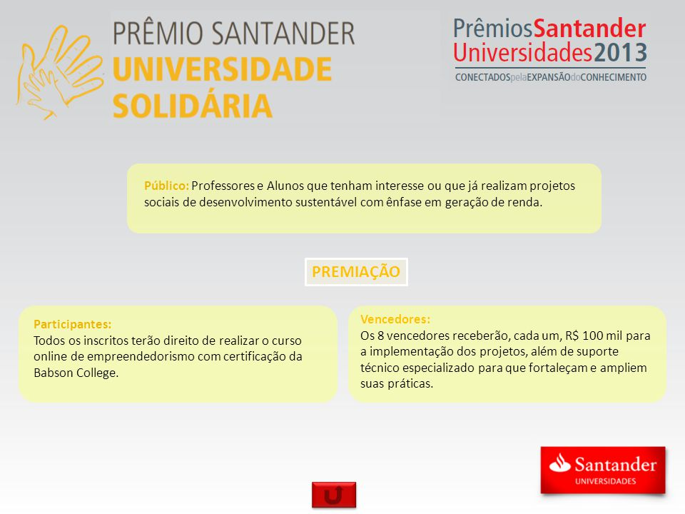 PREMIAÇÃO Público: Professores e Alunos que tenham interesse ou que já realizam projetos sociais de desenvolvimento sustentável com ênfase em geração de renda.