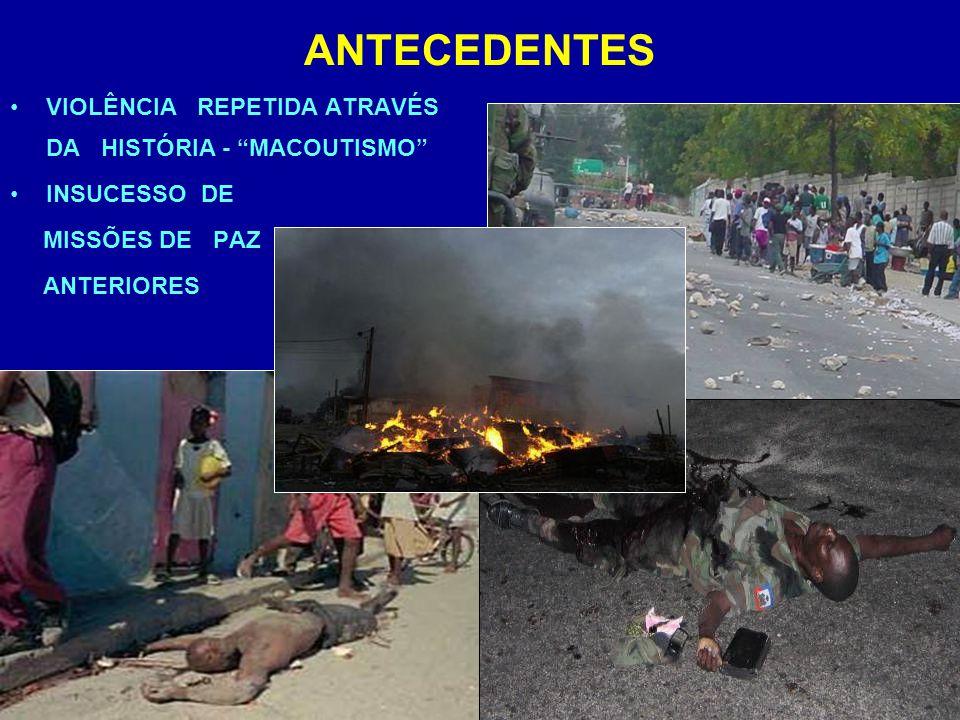 ANTECEDENTES VIOLÊNCIA REPETIDA ATRAVÉS DA HISTÓRIA - MACOUTISMO INSUCESSO DE MISSÕES DE PAZ ANTERIORES