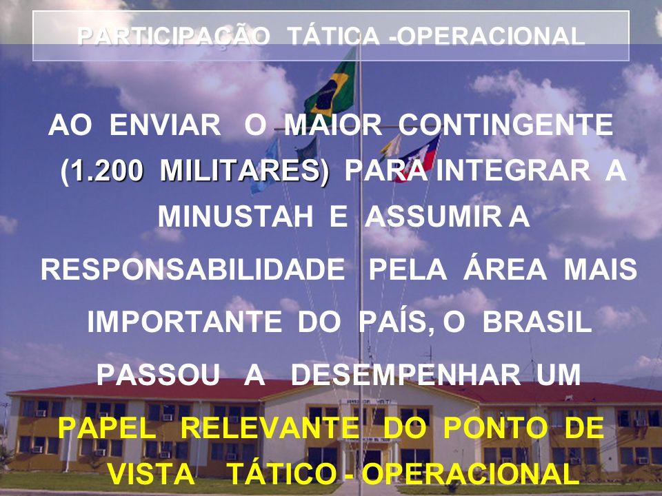 PARTICIPAÇÃO TÁTICA -OPERACIONAL 1.200 MILITARES) AO ENVIAR O MAIOR CONTINGENTE (1.200 MILITARES) PARA INTEGRAR A MINUSTAH E ASSUMIR A RESPONSABILIDADE PELA ÁREA MAIS IMPORTANTE DO PAÍS, O BRASIL PASSOU A DESEMPENHAR UM PAPEL RELEVANTE DO PONTO DE VISTA TÁTICO - OPERACIONAL