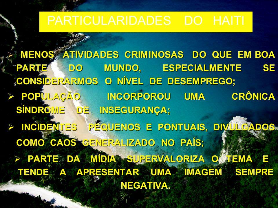 MENOS ATIVIDADES CRIMINOSAS DO QUE EM BOA PARTE DO MUNDO, ESPECIALMENTE SE CONSIDERARMOS O NÍVEL DE DESEMPREGO;  MENOS ATIVIDADES CRIMINOSAS DO QUE EM BOA PARTE DO MUNDO, ESPECIALMENTE SE CONSIDERARMOS O NÍVEL DE DESEMPREGO;  POPULAÇÃO INCORPOROU UMA CRÔNICA SÍNDROME DE INSEGURANÇA;  INCIDENTES PEQUENOS E PONTUAIS, DIVULGADOS COMO CAOS GENERALIZADO NO PAÍS;  PARTE DA MÍDIA SUPERVALORIZA O TEMA E TENDE A APRESENTAR UMA IMAGEM SEMPRE NEGATIVA.