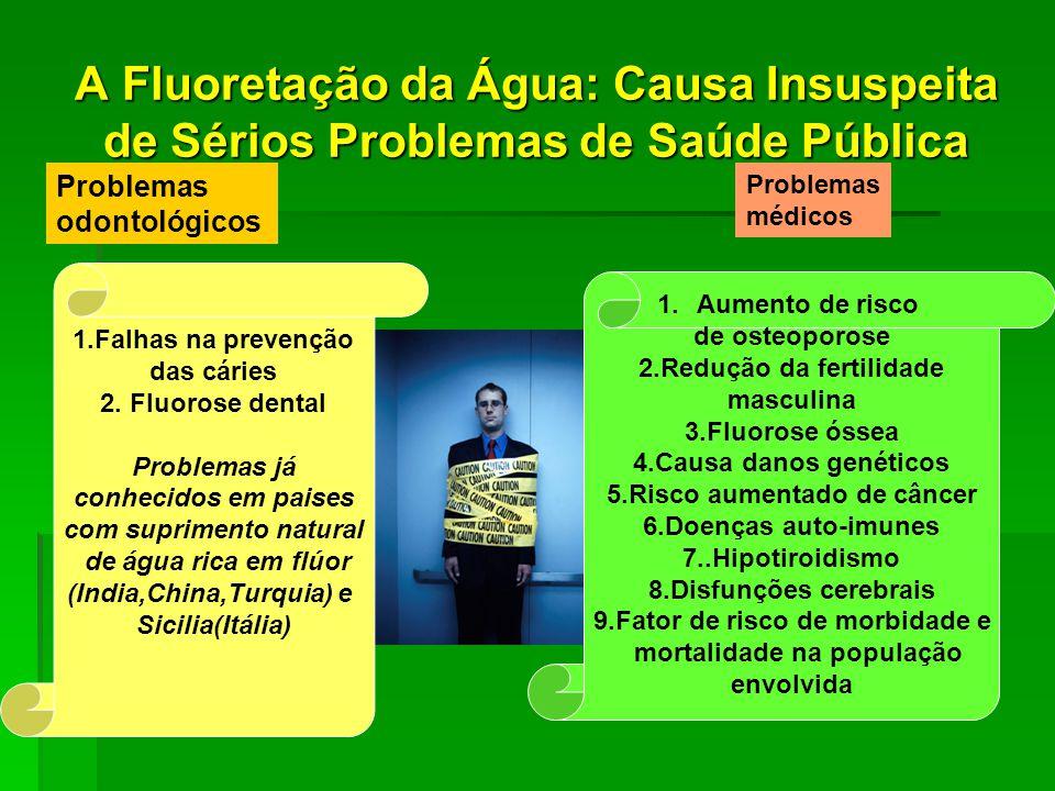 A Fluoretação da Água: Causa Insuspeita de Sérios Problemas de Saúde Pública Problemas odontológicos Problemas médicos 1.Falhas na prevenção das cáries 2.
