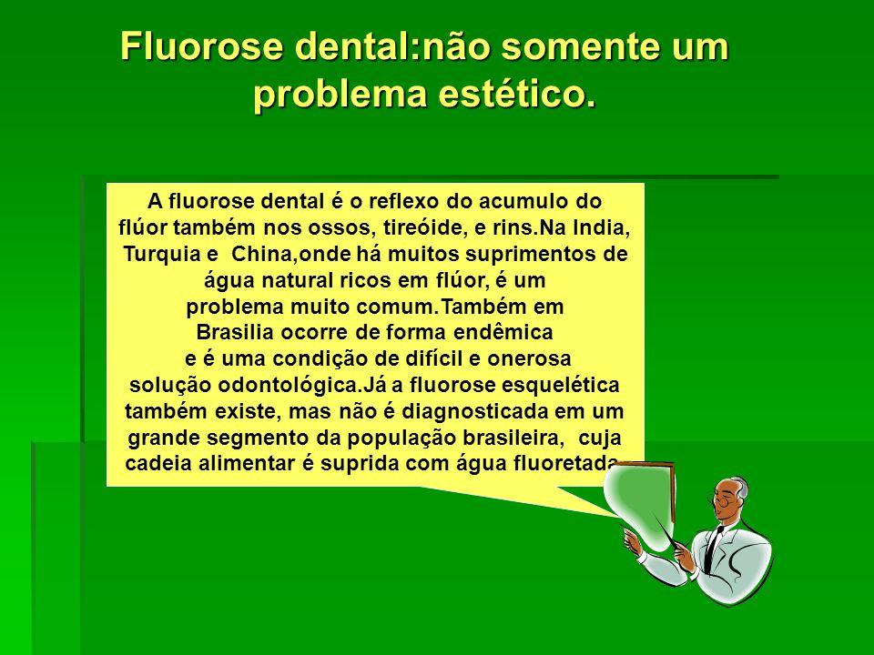 O Flúor e a Função Renal Alterações da Função Renal foram constatadas em pacientes com fluorose dental e fluorose esquelética por pesquisadores da Clinica Mayo.Os níveis de flúor na água eram de 1.7 e 2.6 ppm.Os AA.