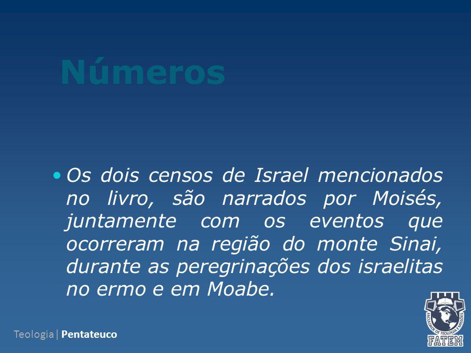 Números Os dois censos de Israel mencionados no livro, são narrados por Moisés, juntamente com os eventos que ocorreram na região do monte Sinai, durante as peregrinações dos israelitas no ermo e em Moabe.