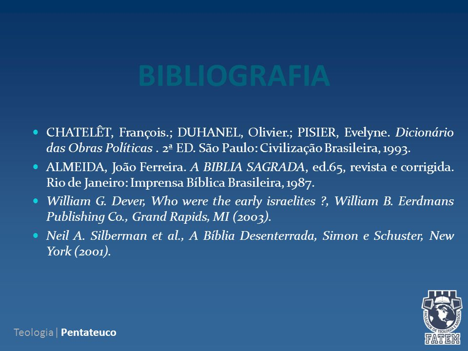 BIBLIOGRAFIA CHATELÊT, François.; DUHANEL, Olivier.; PISIER, Evelyne.