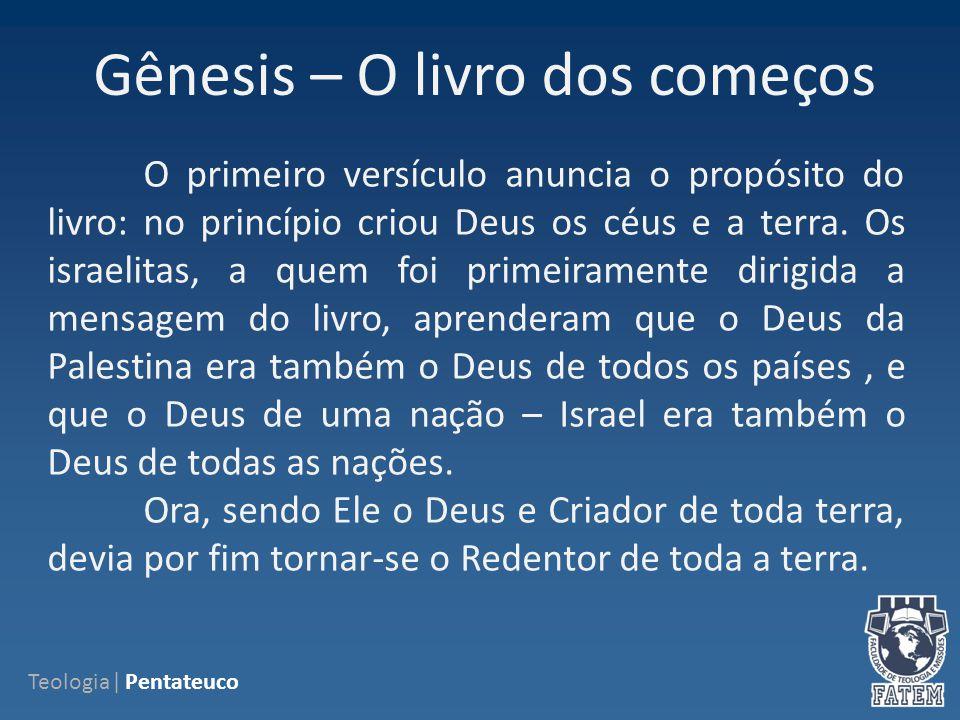 Gêneses Narra acontecimentos, desde a criação do mundo, na perspectiva judaica (o chamado relato do Gênesis ), passando pelos Patriarcas hebreus, até à fixação deste povo no Egito, depois da história de José.