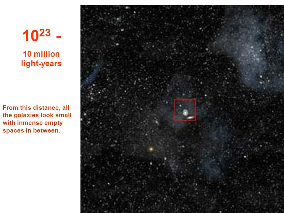 10 22 1 million light- years At this tremendous distance we could see all the Via-Lactea & other galaxies too...