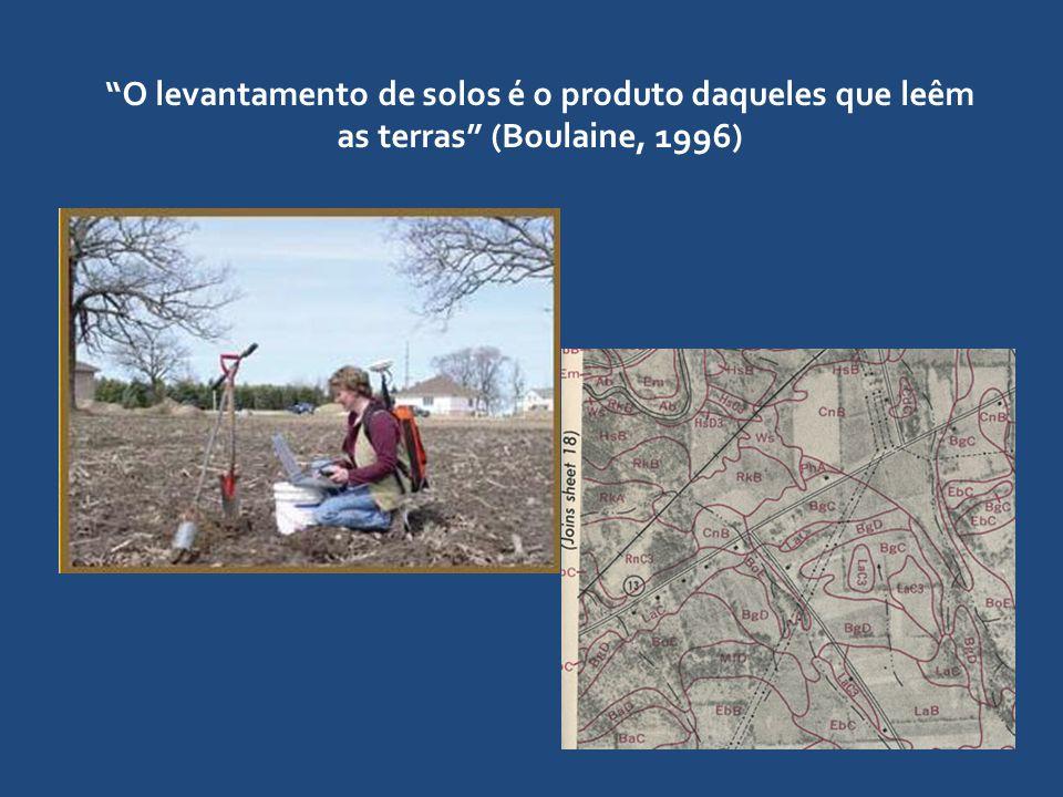 """""""O levantamento de solos é o produto daqueles que leêm as terras"""" (Boulaine, 1996)"""