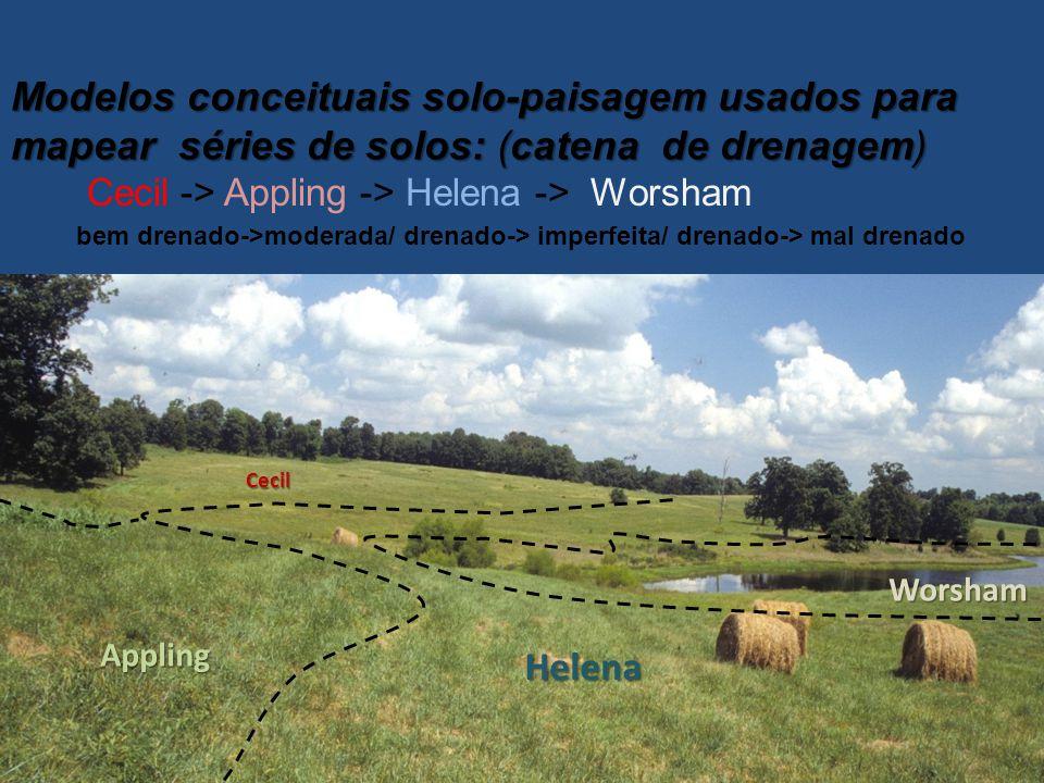 Modelos conceituais solo-paisagem usados para mapear séries de solos: (catena de drenagem) Cecil -> Appling -> Helena -> Worsham bem drenado->moderada