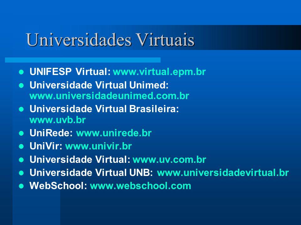 Universidades Virtuais UNIFESP Virtual: www.virtual.epm.br Universidade Virtual Unimed: www.universidadeunimed.com.br Universidade Virtual Brasileira: www.uvb.br UniRede: www.unirede.br UniVir: www.univir.br Universidade Virtual: www.uv.com.br Universidade Virtual UNB: www.universidadevirtual.br WebSchool: www.webschool.com