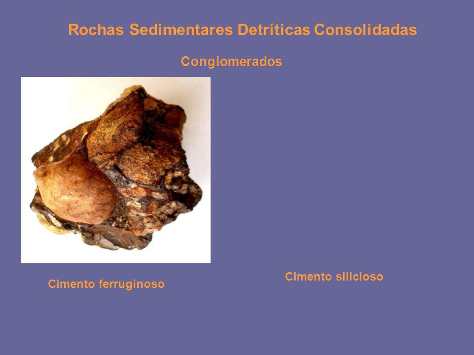 Rochas Sedimentares Detríticas Consolidadas Conglomerados Cimento ferruginoso Cimento silicioso