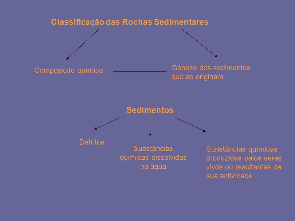 Classificação das Rochas Sedimentares Composição química Génese dos sedimentos que as originam Sedimentos Detritos Substâncias químicas dissolvidas na