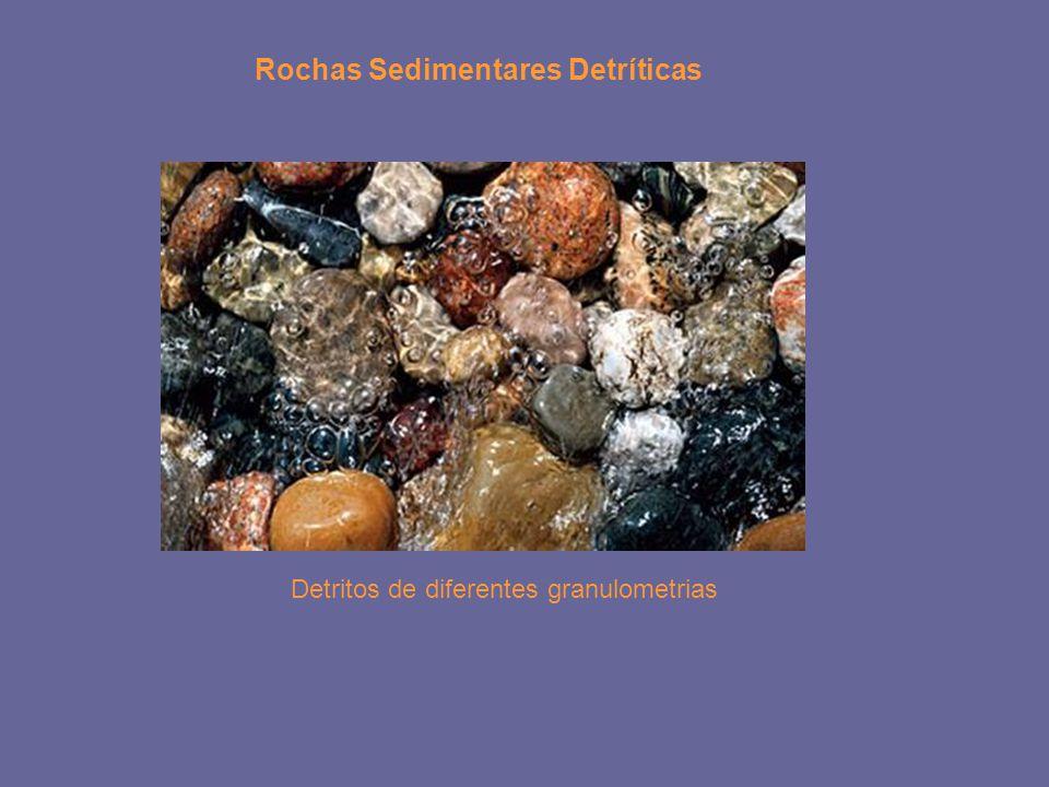 Rochas Sedimentares Detríticas Detritos de diferentes granulometrias