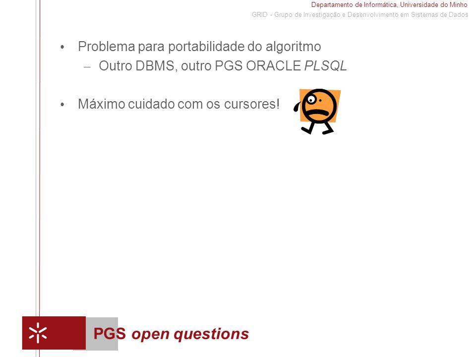 Departamento de Informática, Universidade do Minho 1 GRID - Grupo de Investigação e Desenvolvimento em Sistemas de Dados PGS open questions Problema para portabilidade do algoritmo – Outro DBMS, outro PGS ORACLE PLSQL Máximo cuidado com os cursores!
