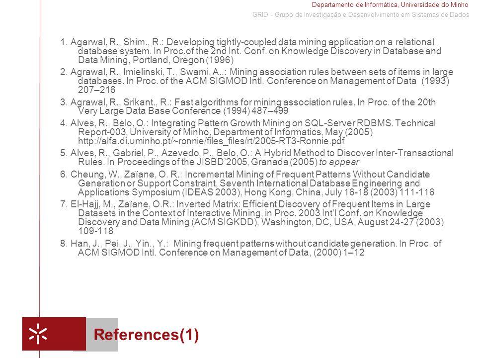 Departamento de Informática, Universidade do Minho 1 GRID - Grupo de Investigação e Desenvolvimento em Sistemas de Dados References(1) 1.