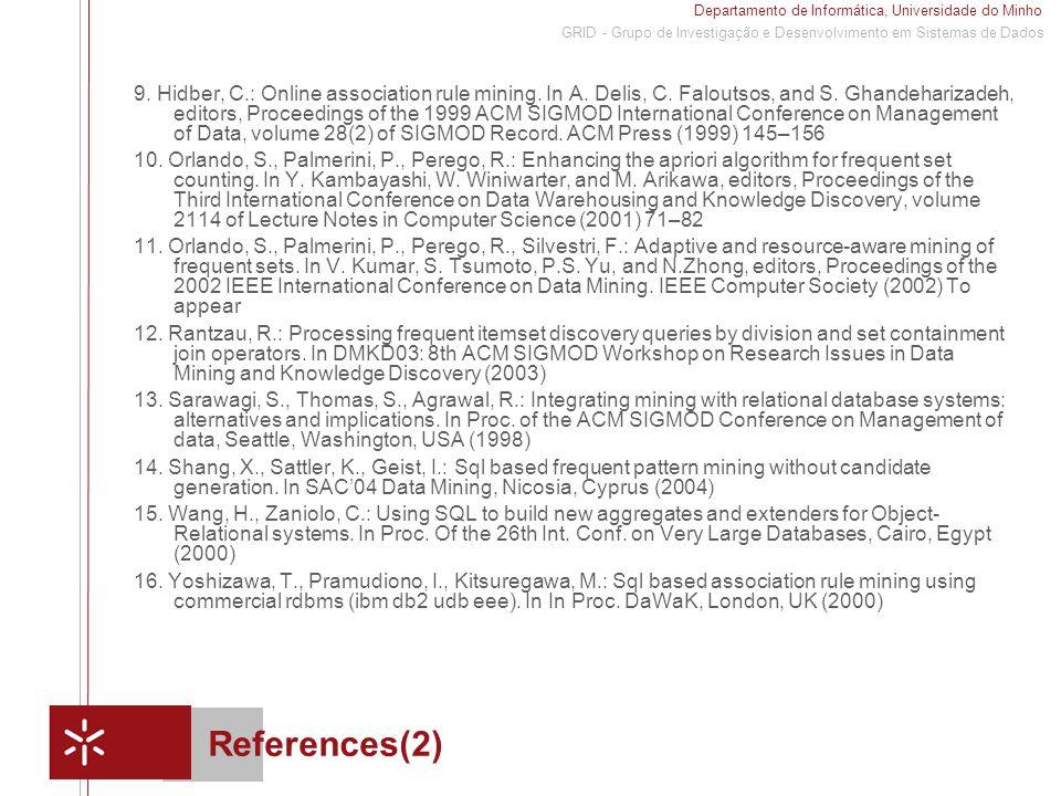 Departamento de Informática, Universidade do Minho 1 GRID - Grupo de Investigação e Desenvolvimento em Sistemas de Dados References(2) 9.