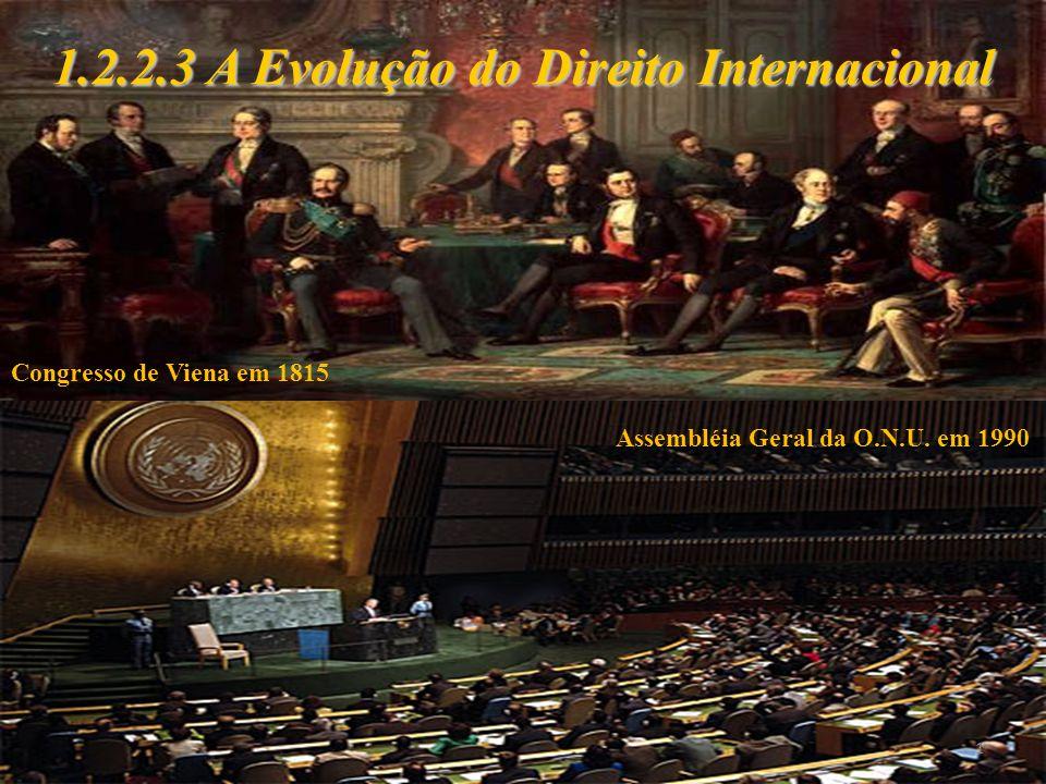 1 1.2.2.3 A Evolução do Direito Internacional Congresso de Viena em 1815 Assembléia Geral da O.N.U. em 1990