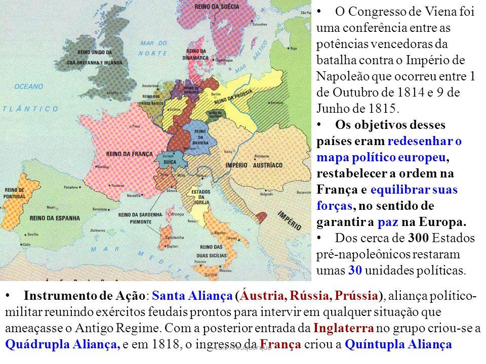 Instrumento de Ação: Santa Aliança (Áustria, Rússia, Prússia), aliança político- militar reunindo exércitos feudais prontos para intervir em qualquer