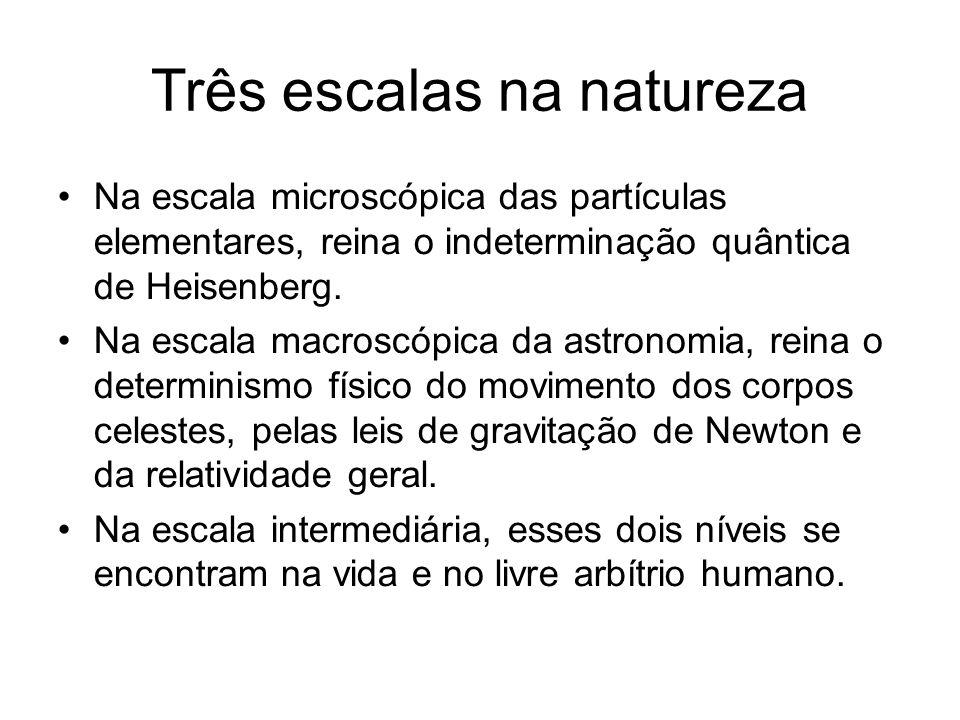 Três escalas na natureza Na escala microscópica das partículas elementares, reina o indeterminação quântica de Heisenberg. Na escala macroscópica da a
