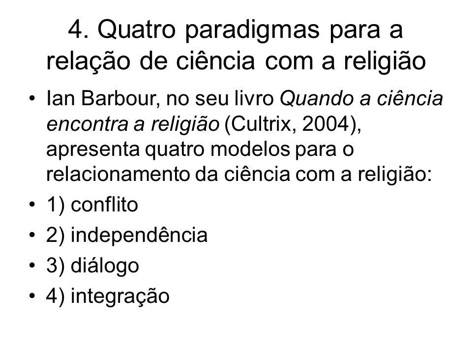 4. Quatro paradigmas para a relação de ciência com a religião Ian Barbour, no seu livro Quando a ciência encontra a religião (Cultrix, 2004), apresent
