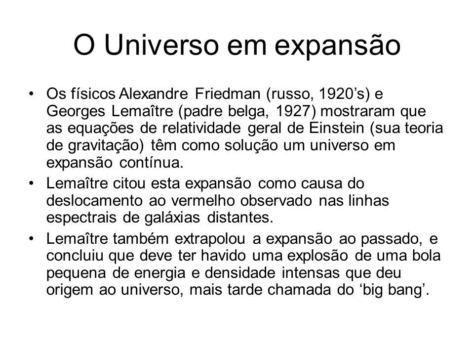 O Universo em expansão Os físicos Alexandre Friedman (russo, 1920's) e Georges Lemaître (padre belga, 1927) mostraram que as equações de relatividade