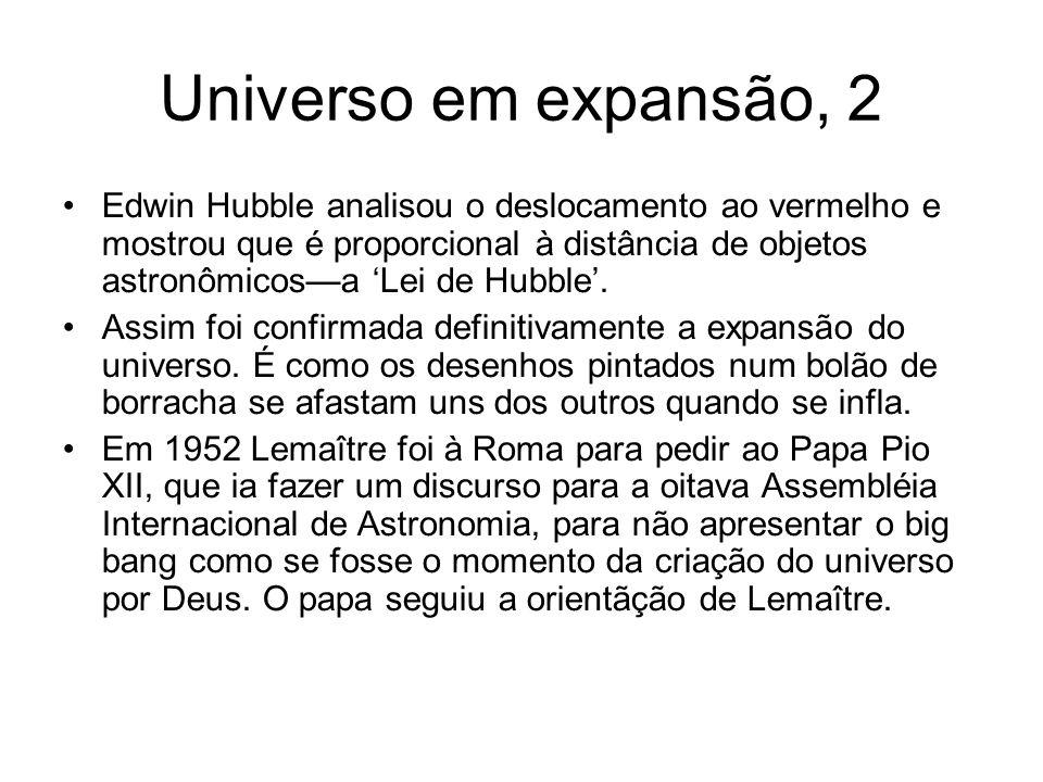 Universo em expansão, 2 Edwin Hubble analisou o deslocamento ao vermelho e mostrou que é proporcional à distância de objetos astronômicos—a 'Lei de Hubble'.