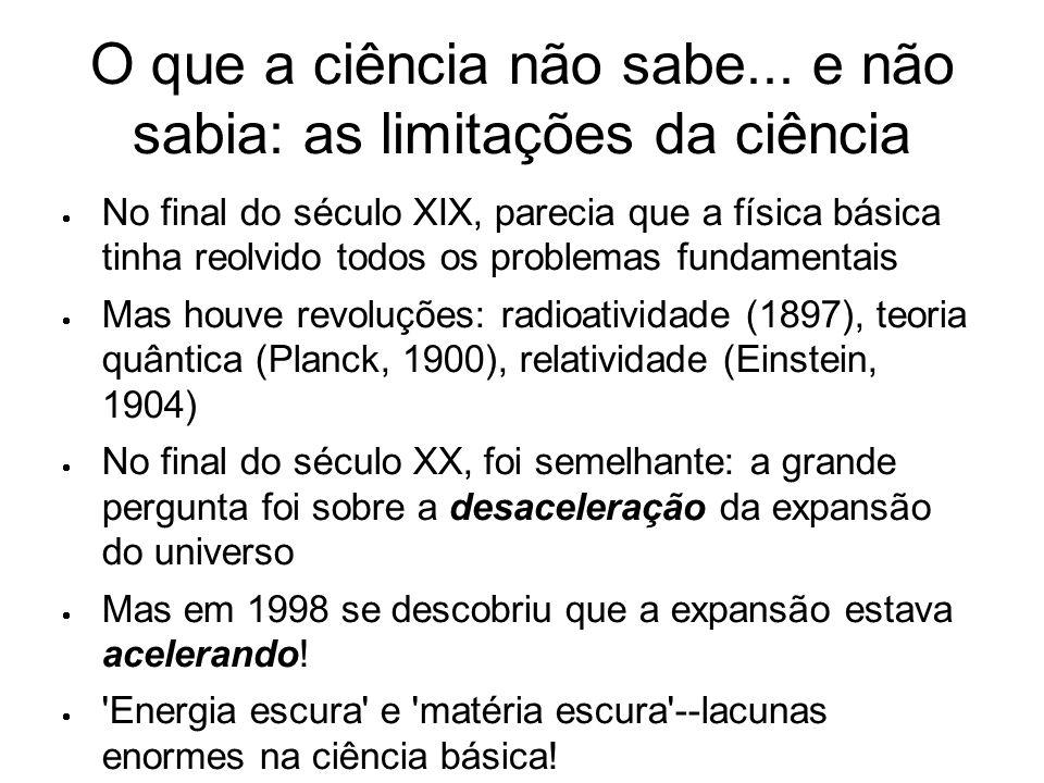 O que a ciência não sabe... e não sabia: as limitações da ciência  No final do século XIX, parecia que a física básica tinha reolvido todos os proble