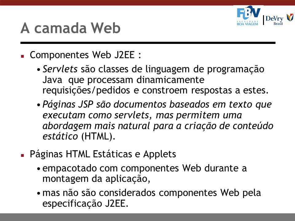 A camada Web n Componentes Web J2EE : Servlets são classes de linguagem de programação Java que processam dinamicamente requisições/pedidos e constroem respostas a estes.