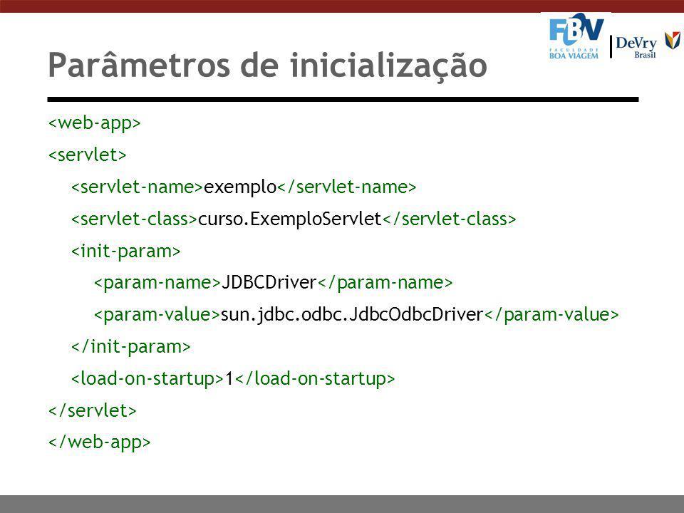 Parâmetros de inicialização exemplo curso.ExemploServlet JDBCDriver sun.jdbc.odbc.JdbcOdbcDriver 1