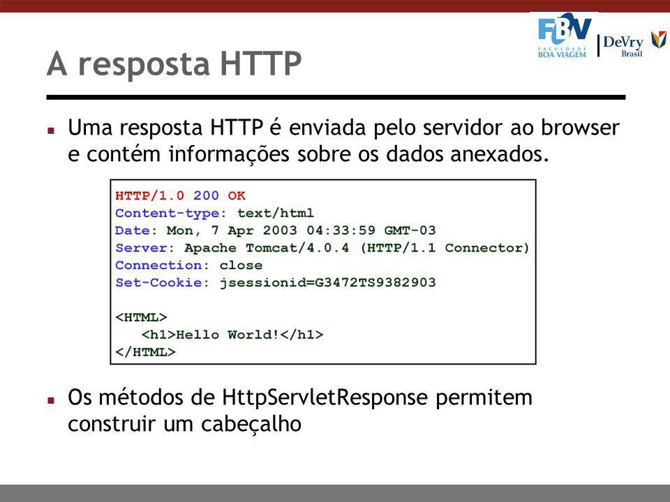 A resposta HTTP n Uma resposta HTTP é enviada pelo servidor ao browser e contém informações sobre os dados anexados.