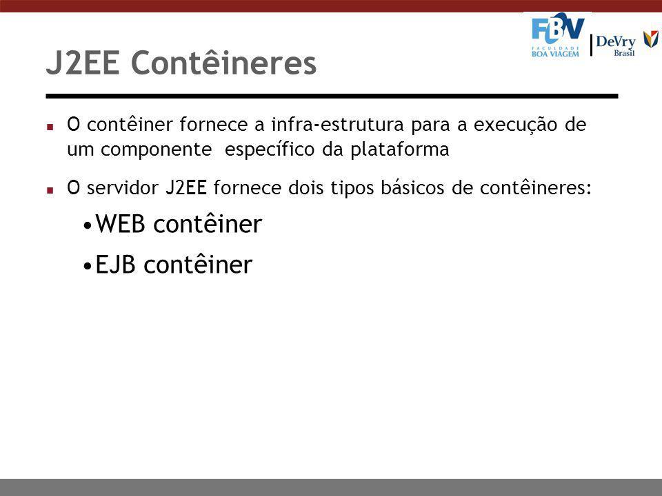 J2EE Contêineres n O contêiner fornece a infra-estrutura para a execução de um componente específico da plataforma n O servidor J2EE fornece dois tipos básicos de contêineres: WEB contêiner EJB contêiner
