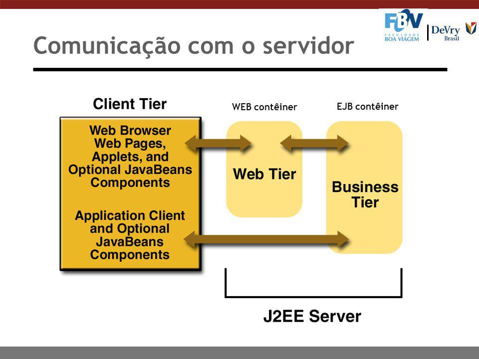 Comunicação com o servidor WEB contêiner EJB contêiner