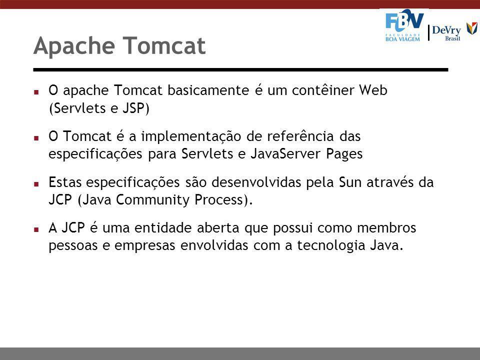 Apache Tomcat n O apache Tomcat basicamente é um contêiner Web (Servlets e JSP) n O Tomcat é a implementação de referência das especificações para Servlets e JavaServer Pages n Estas especificações são desenvolvidas pela Sun através da JCP (Java Community Process).