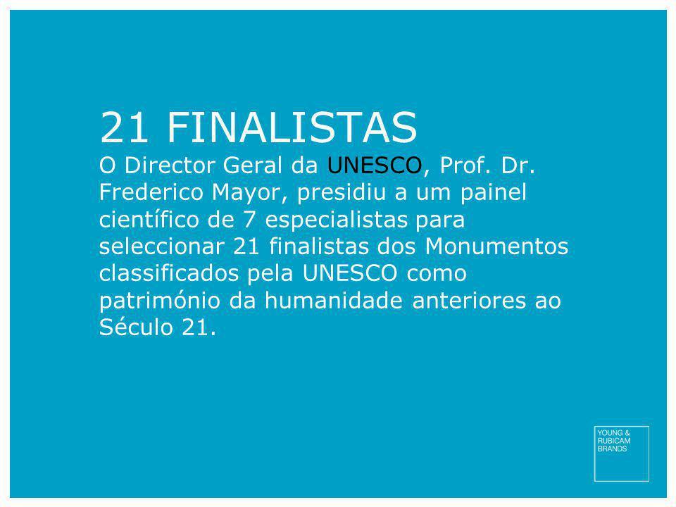 21 FINALISTAS O Director Geral da UNESCO, Prof. Dr. Frederico Mayor, presidiu a um painel científico de 7 especialistas para seleccionar 21 finalistas