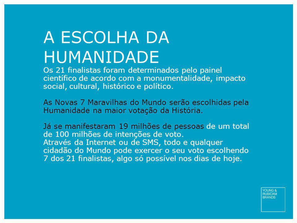 A ESCOLHA DA HUMANIDADE Os 21 finalistas foram determinados pelo painel científico de acordo com a monumentalidade, impacto social, cultural, históric