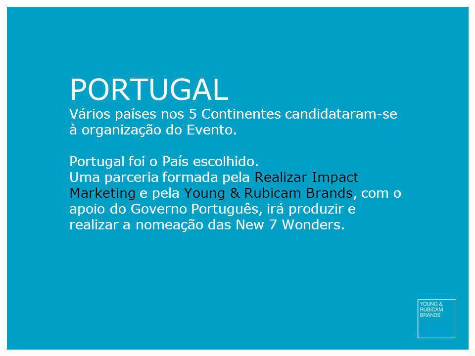 PORTUGAL Vários países nos 5 Continentes candidataram-se à organização do Evento. Portugal foi o País escolhido. Uma parceria formada pela Realizar Im