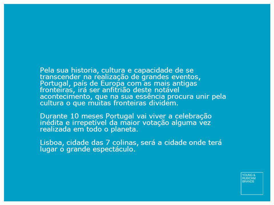 Pela sua historia, cultura e capacidade de se transcender na realização de grandes eventos, Portugal, país de Europa com as mais antigas fronteiras, irá ser anfitrião deste notável acontecimento, que na sua essência procura unir pela cultura o que muitas fronteiras dividem.