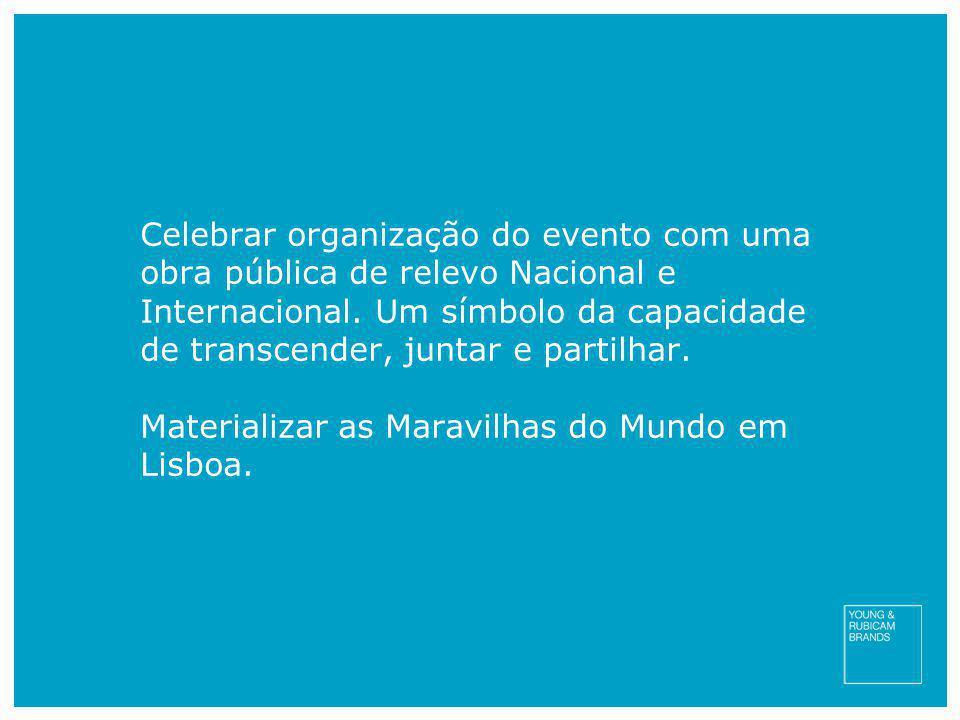 Celebrar organização do evento com uma obra pública de relevo Nacional e Internacional. Um símbolo da capacidade de transcender, juntar e partilhar. M
