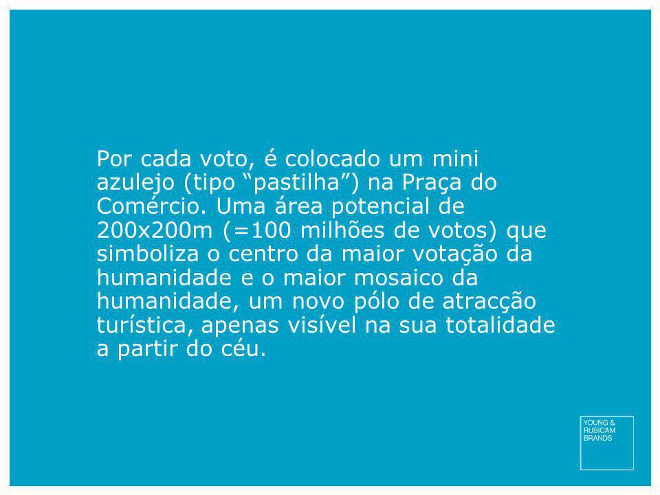"""Por cada voto, é colocado um mini azulejo (tipo """"pastilha"""") na Praça do Comércio. Uma área potencial de 200x200m (=100 milhões de votos) que simboliza"""