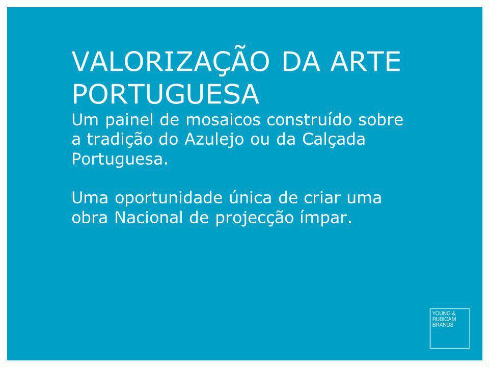 VALORIZAÇÃO DA ARTE PORTUGUESA Um painel de mosaicos construído sobre a tradição do Azulejo ou da Calçada Portuguesa. Uma oportunidade única de criar