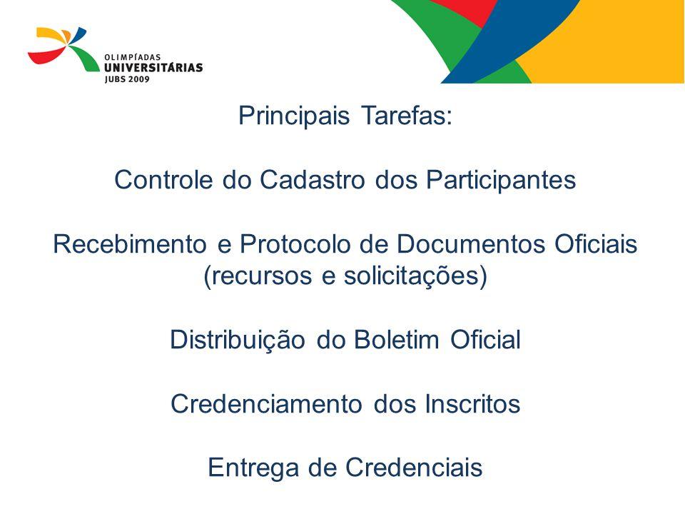 Principais Tarefas: Controle do Cadastro dos Participantes Recebimento e Protocolo de Documentos Oficiais (recursos e solicitações) Distribuição do Bo