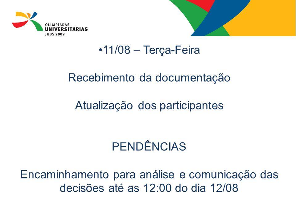11/08 – Terça-Feira Recebimento da documentação Atualização dos participantes PENDÊNCIAS Encaminhamento para análise e comunicação das decisões até as