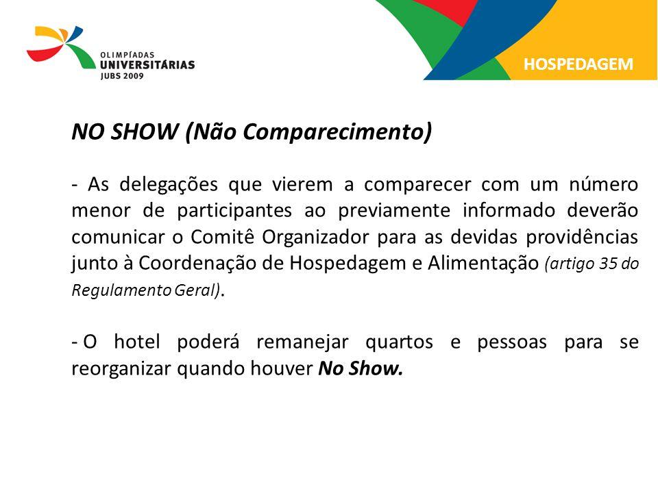 NO SHOW (Não Comparecimento) - As delegações que vierem a comparecer com um número menor de participantes ao previamente informado deverão comunicar o