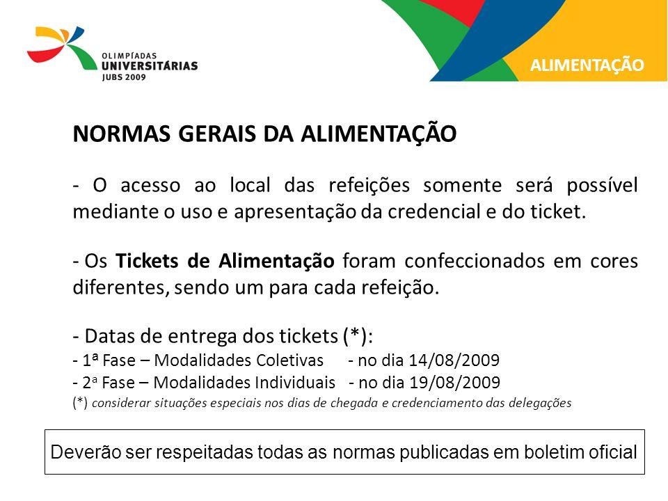 NORMAS GERAIS DA ALIMENTAÇÃO - O acesso ao local das refeições somente será possível mediante o uso e apresentação da credencial e do ticket. - Os Tic