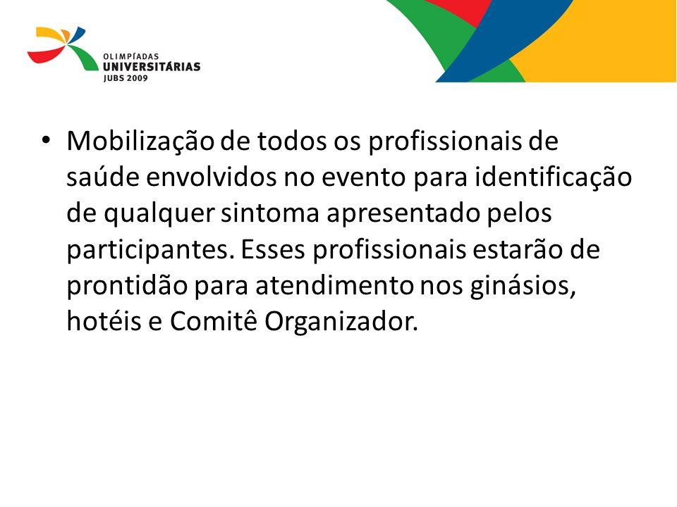 Mobilização de todos os profissionais de saúde envolvidos no evento para identificação de qualquer sintoma apresentado pelos participantes. Esses prof