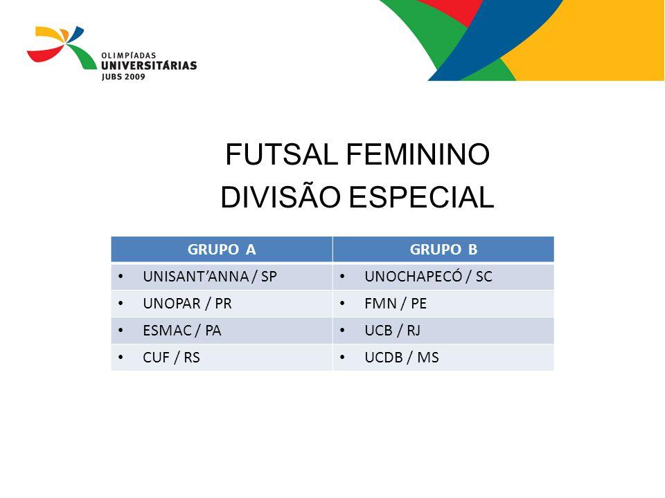 FUTSAL FEMININO DIVISÃO ESPECIAL GRUPO AGRUPO B UNISANT'ANNA / SP UNOCHAPECÓ / SC UNOPAR / PR FMN / PE ESMAC / PA UCB / RJ CUF / RS UCDB / MS