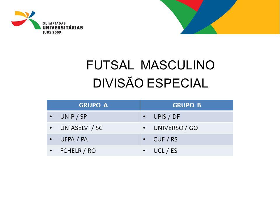 FUTSAL MASCULINO DIVISÃO ESPECIAL GRUPO AGRUPO B UNIP / SP UPIS / DF UNIASELVI / SC UNIVERSO / GO UFPA / PA CUF / RS FCHELR / RO UCL / ES