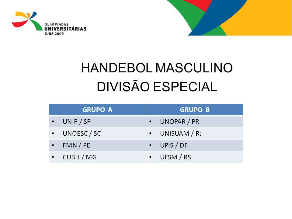 HANDEBOL MASCULINO DIVISÃO ESPECIAL GRUPO AGRUPO B UNIP / SP UNOPAR / PR UNOESC / SC UNISUAM / RJ FMN / PE UPIS / DF CUBH / MG UFSM / RS