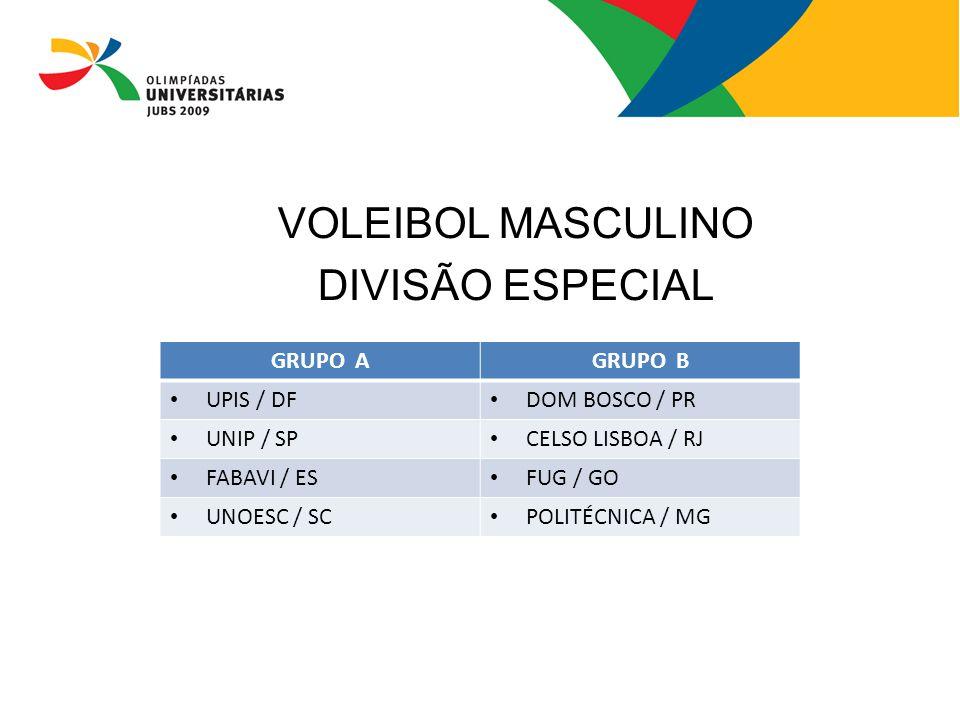 VOLEIBOL MASCULINO DIVISÃO ESPECIAL GRUPO AGRUPO B UPIS / DF DOM BOSCO / PR UNIP / SP CELSO LISBOA / RJ FABAVI / ES FUG / GO UNOESC / SC POLITÉCNICA /