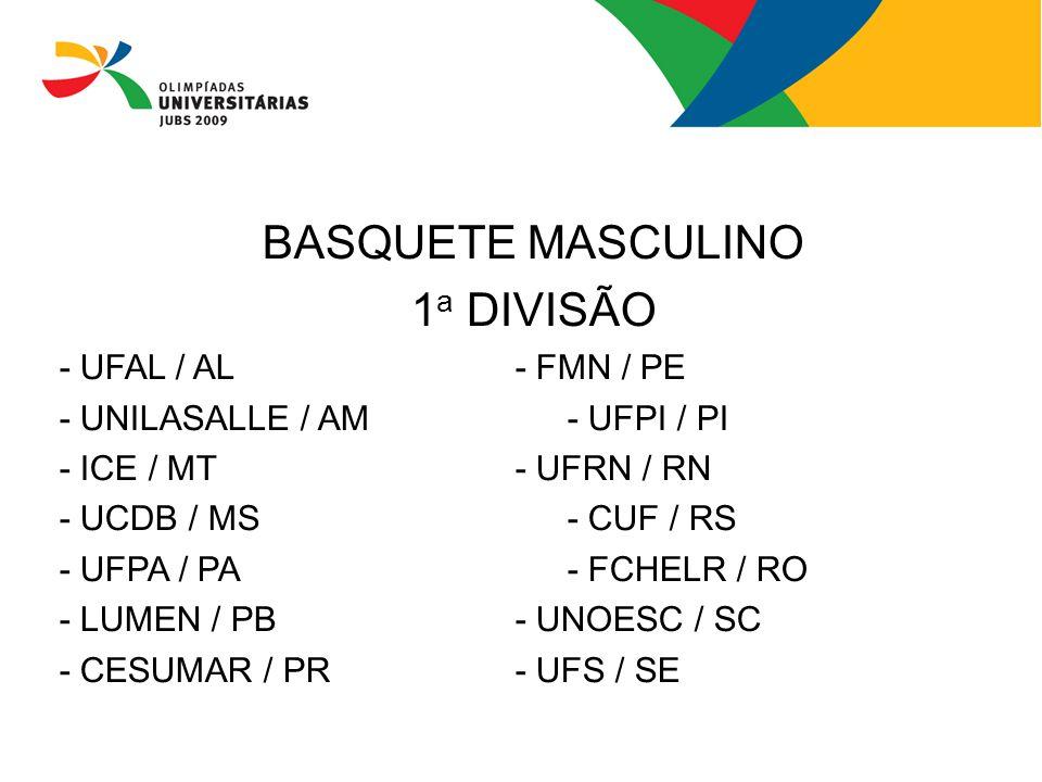 BASQUETE MASCULINO 1 a DIVISÃO - UFAL / AL- FMN / PE - UNILASALLE / AM- UFPI / PI - ICE / MT- UFRN / RN - UCDB / MS- CUF / RS - UFPA / PA - FCHELR / R
