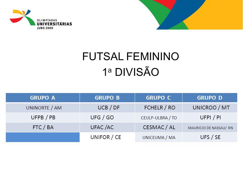 FUTSAL FEMININO 1 a DIVISÃO GRUPO AGRUPO BGRUPO CGRUPO D UNINORTE / AM UCB / DF FCHELR / RO UNICROO / MT UFPB / PB UFG / GO CEULP-ULBRA / TO UFPI / PI